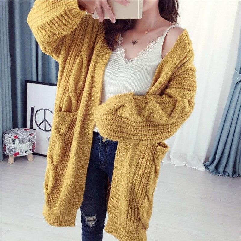 f5a3a07f5900 Cheap PEONFLY nuevo cárdigan largo de mujer Otoño Invierno abierto puntada  tejer suéter Cardigans cuello en