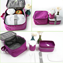High Quality Japanese Bento Lunch w/ Water Soup Mug Box Insulated Lunch Tote Bag Food Container Lunchbox Plastic Microwave OK