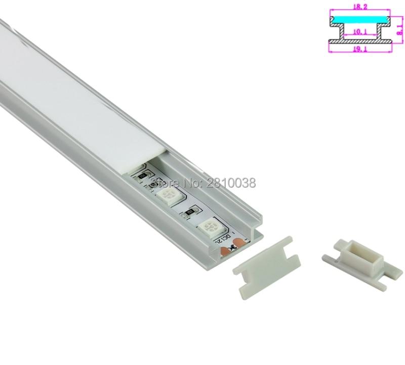 10 Sets / Lote Forma H Anodizado Plata LED perfil de aluminio AL6063 - Iluminación LED