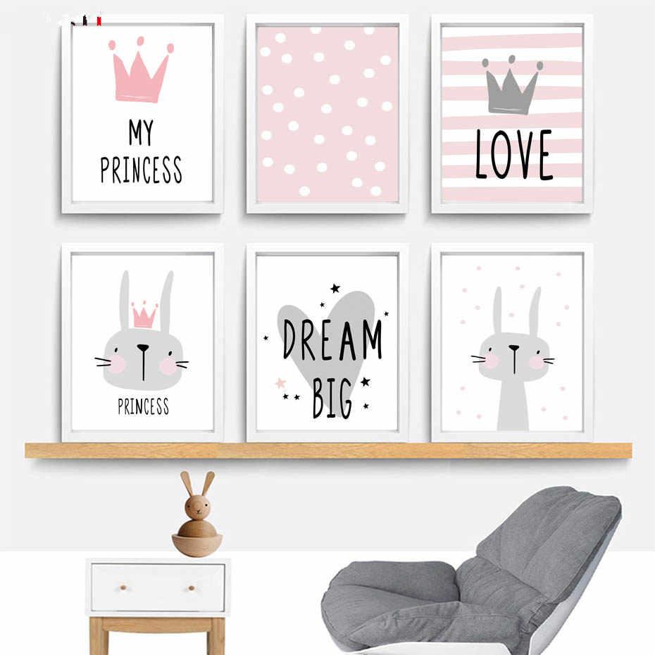 Kartun Nursery Gadis Kamar Dekorasi Poster dan Cetak Kelinci Mahkota Kanvas Lukisan Bayi Anak-anak Anak Kamar Dinding Seni Lukisan Dinding Stiker