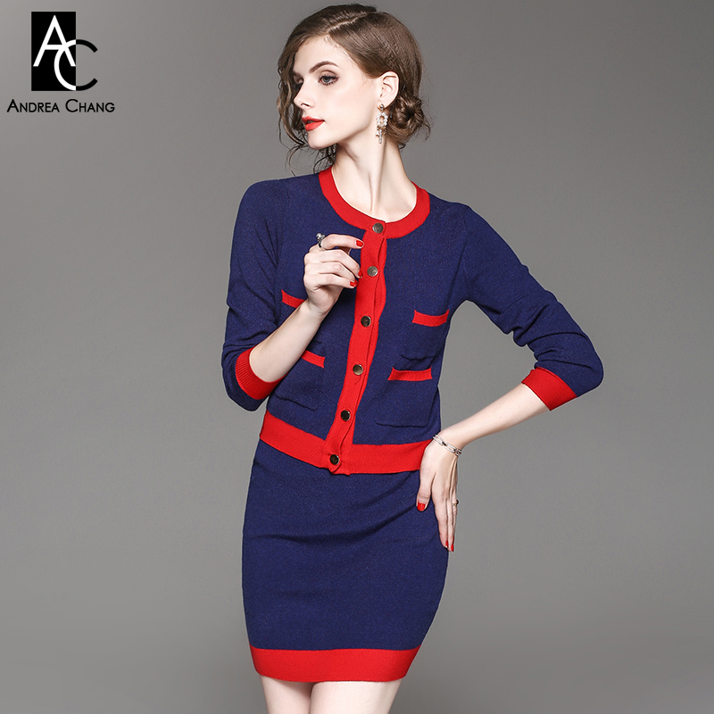 autumn winter woman outfit red border black dark blue knitted outfit skirt suit chest pockets sweater mini skirt two-piece suit