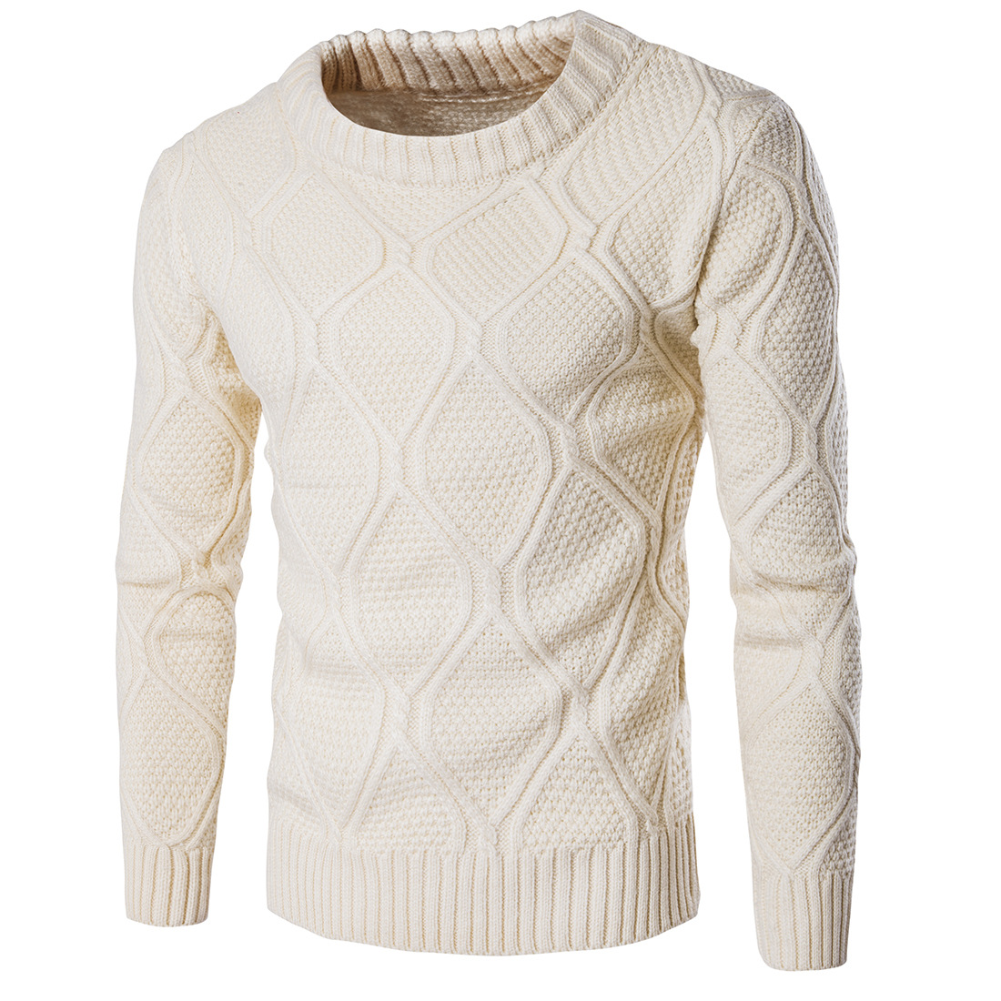 2018 Autumn Mens Casual Pullover Wool sweater , Warm winter mens round neck solid sweater men , Fashion twist knit sweater