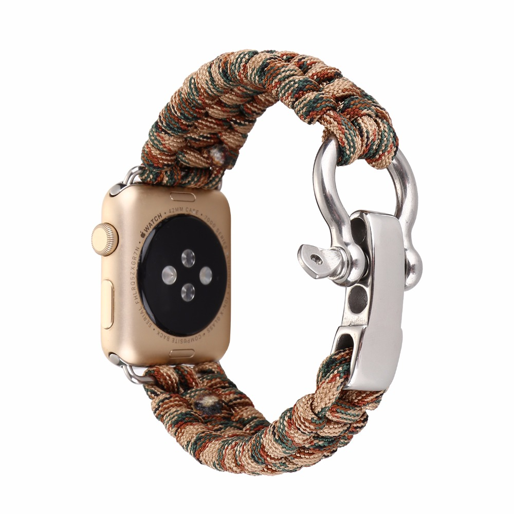 Woven Nylon Rope Outdoors Sports Watch Band Strap for Apple Watch iwatch 38/42mm Survival Rope for Hiking Mountain I158.