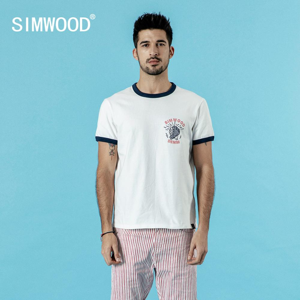 SIMWOOD  New Contrast T-shirt Men Print Tops 100% Cotton High Quality 2020 Summer New Plus Size Brand Clothing 190315