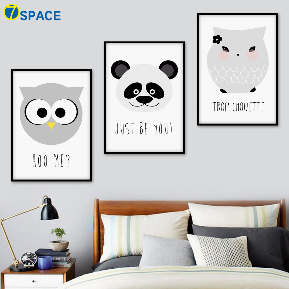 Cartoon Panda Owl Quote Wall Art Canvas Painting Nordic Posters And Prints Black White Wall Pictures Kids Room Bedroom Decor