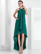 2016 heißer Verkauf Mode Dunkelgrün Asymmetrische Cocktailkleid Halfter Chiffon Party/Urlaub Kleider Plus Größe