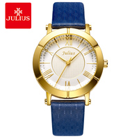 JULIUS 2018 Blue Watch Women Genuine Leather Strap Gold Plated Watch Top Brand Women Luxury Leather Quartz Military Reloj E1