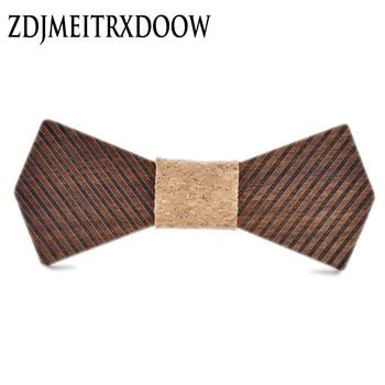 цена на New design black walnut wooden bow tie gravata borboleta mens strip ties wood bowtie gravatas para homens