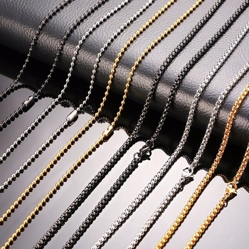 2.5mm Beads Chain Neckalce Stainless Steel Mens Chains Silver Black Gold Color Metal Ball Box Links Choker 20inch Male Jewelry