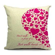 Romantic Love Flower Heart Words Cushion Cover Sofa Chair Waist Cotton Linen Pillow Cover Colorful Pillowcase Home Decor