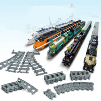 City Trains Train Flexible Track Rail Crossing Straight Curved Rails Building Blocks Set Bricks Model Kids