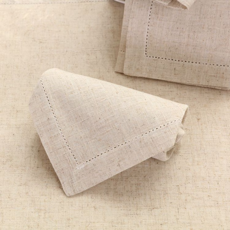 12PCS Hemstitched Linen Napkins Natural Table Napkins Beautiful Hemstitched Cloth Napkins 45x45cm(17.7x17.7) ...