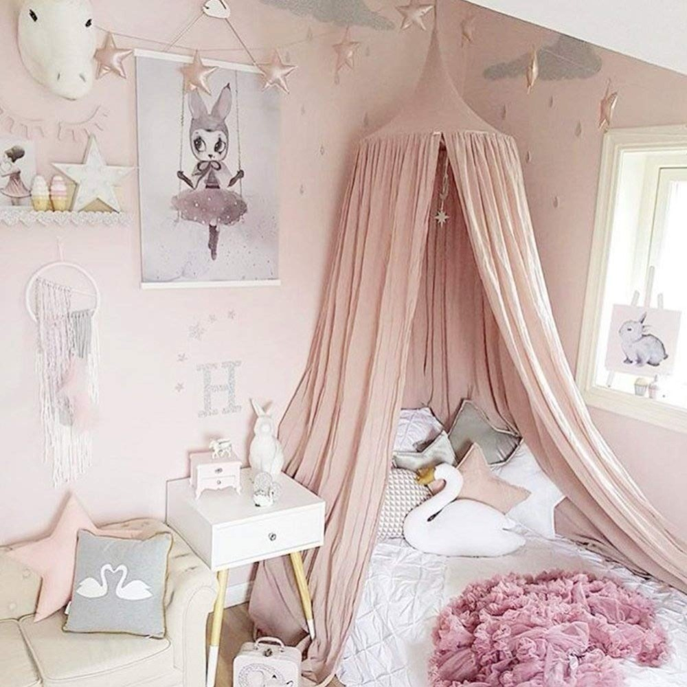 Children Crib Baby Bed Canopy INS Round Dome Hanging Valance Kids Play Tent Mosquito Net Curtain Room Decor White Grey Pink Blue