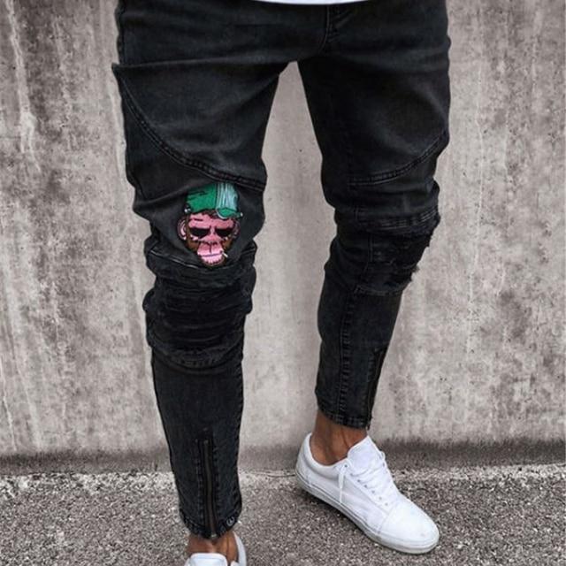 Homens moda Casual calças Magros 2019 Dos Homens da marca bordado jeans Reta de Alta Pés Estiramento skinny jeans calças pretas dos homens homme