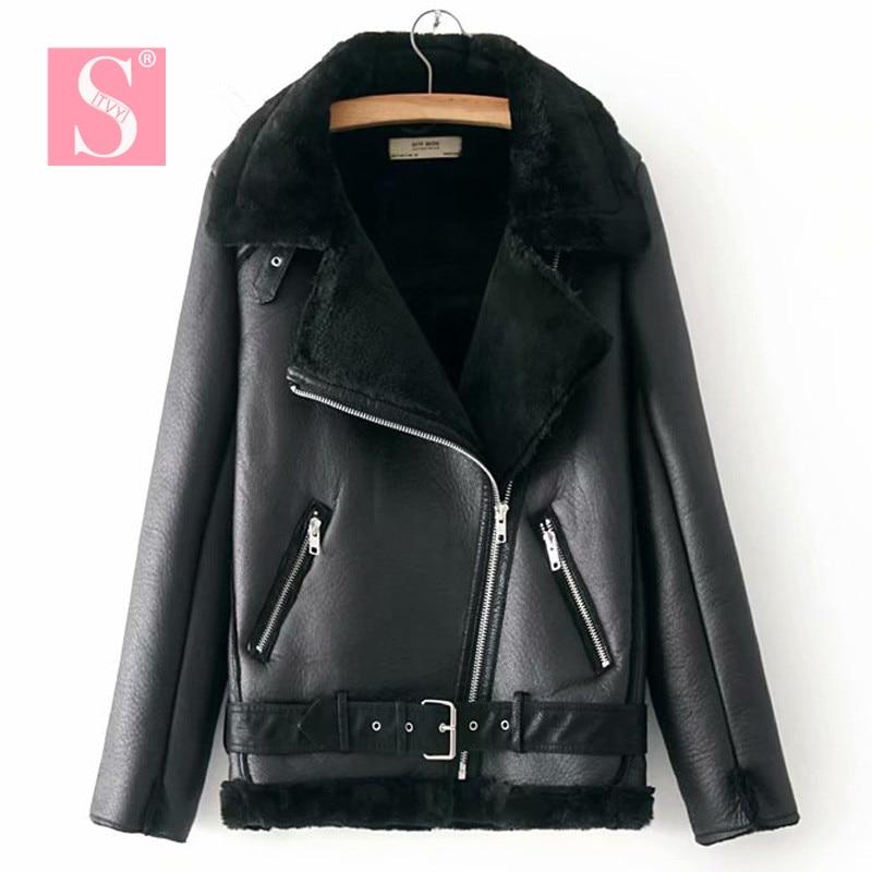 STVY Warm Women's Winter Motorcycle Velvet Jacket Female Lapels Fur Thick Korean Version Plus Velvet Jacket 2019 Bomber Jacket