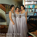 Cheap Long Bridesmaid Dresses Elegant Cap Sleeve Lace Appliques Gray Color Chiffon Bridesmaid Dress Formal Maid of Honor Gowns