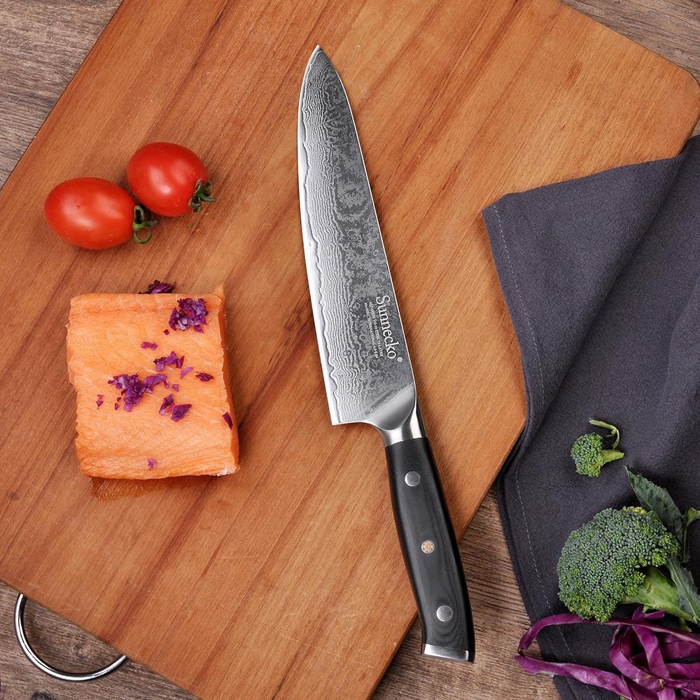 "Sunnecko 8 ""inch Damascus Koksmes Japanse VG10 Staal Core Blade G10 Handvat Vlees Groente Gesneden Chef Koken keukenmessen-in Keukenmessen van Huis & Tuin op  Groep 2"