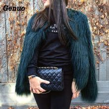 Furry Fur Coat Women Fluffy Warm Long Sleeve Outerwear Autumn Winter Coat Jacket Hairy Collarless Overcoat Plus Size 3XL Genuo цены