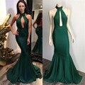 2016 Nueva Venta Caliente Del Cuello Del Halter Del Hombro de Barrido tren Vestido de Fiesta Sexy Espalda Abierta de La Gasa de La Sirena Del Partido de Tarde vestido