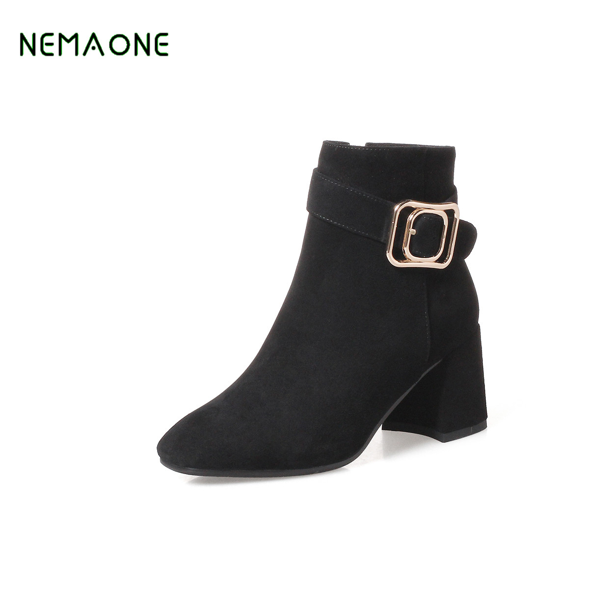 NEMAONE NEW Women Winter Shoes Genuine Leather fashion Boots Brand Women Shoes High Quality Ankle Boots High Heel whensinger 2017 new women fashion boots genuine leather fashion shoes rubber sole hands sewing 2 color 7126