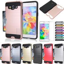 Hybrid Brush Card holder Back Case Cover With Films+Stylus For Samsung Galaxy Grand Prime G530 G530H G5308W G5308