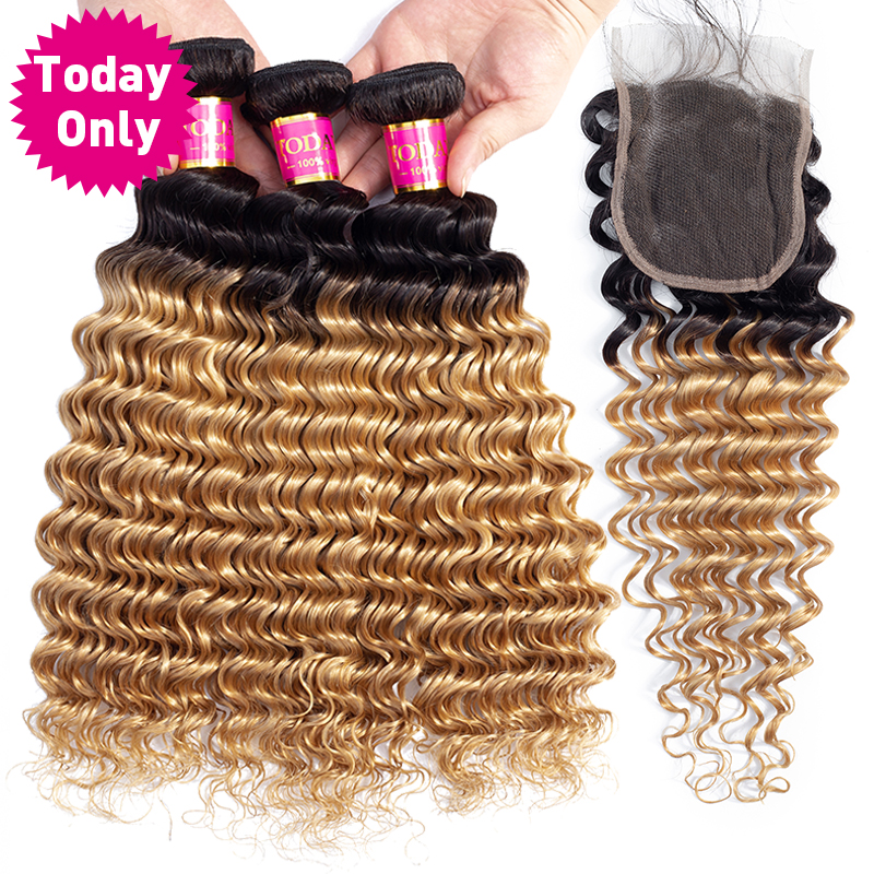 TODAY ONLY Brazilian Deep Wave Bundles With Closure Blonde Bundles With Closure Remy Ombre Human Hair