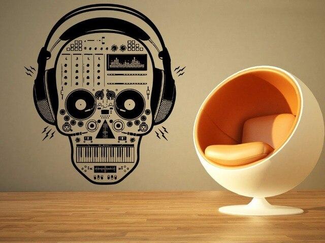 Pengiriman gratis diy vinyl kreatif dinding tengkorak headphone tengkorak dj musik mural wall art sticker