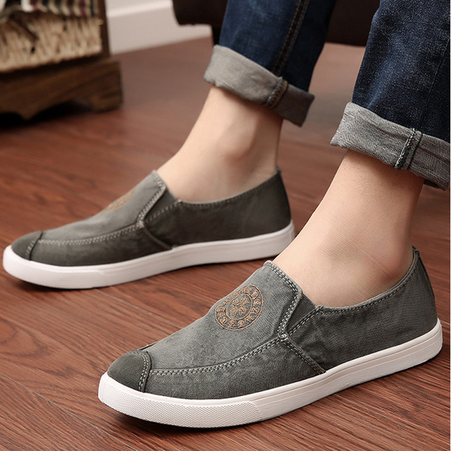 364d5e1f Size 39-44Top sale men fashion all match loafer canvas shoes new men's  casual shoes slip on breathable comfortable single shoe