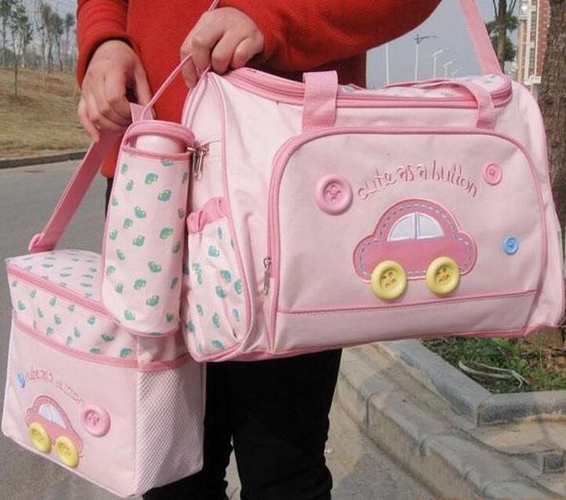 402914cm 4PCS Car Print Mother Bag Baby Diaper Bags Sets Multifunctional Baby Nursing Nappy Bag For Mom Organizer Portable (8)