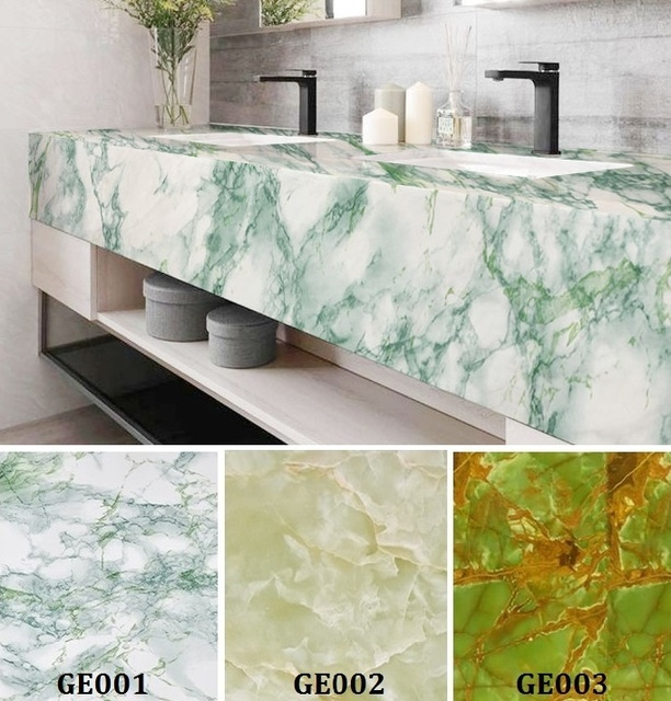 Green Marble Self Adhesive Wallpaper Furniture Tiles Kitchen Backsplash  Vinyl Decor Wall Sticker Home Decor Wall