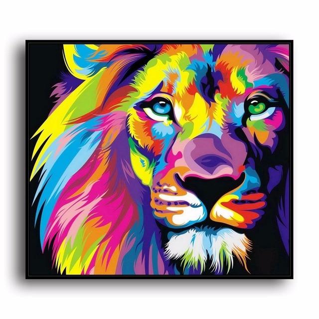A3492 Abstrakte Malerei Farbe Lion Tier. HD Leinwand Drucken Home  Dekoration Wohnzimmer Schlafzimmer Wand Bilder
