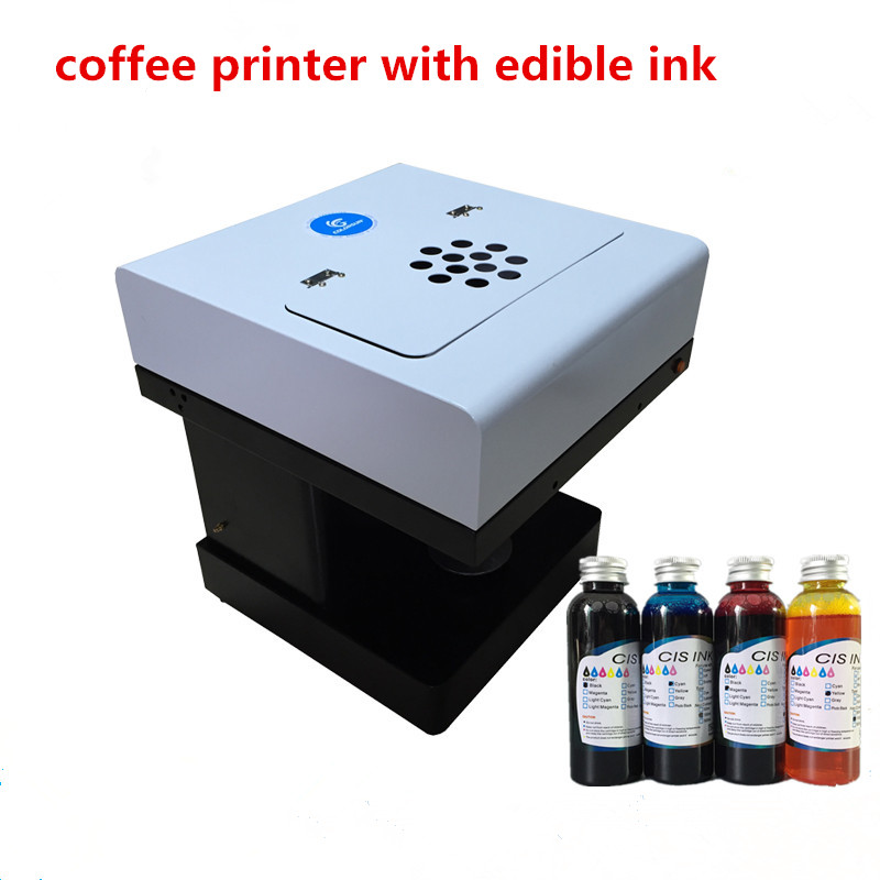 Edible ink printer Art Beverages Coffee Printer coffee Food and Beverage Printing Machine with 4colors*100ml edible ink beverages and food additives ternate pinellia extract