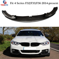 F32 MP Стиль углеродного волокна передняя губа спойлер для BMW 4 серии F32 F33 F36 2014 подарок 418i 420i 428i 430i 435i 440i