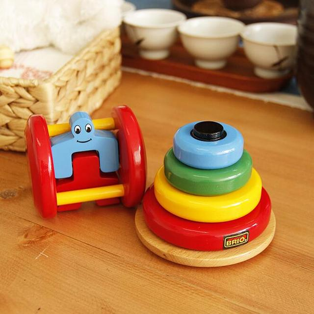 Baby Toy Wooden Stacking Ring Tower and Roll Rattles Educational Toys