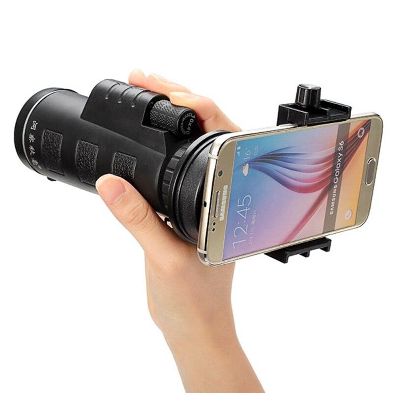 imágenes para Universal 10x40 Senderismo Concierto Telescopio Monocular Lente de La Cámara + Soporte para Teléfono Móvil Clip para Smartphone Negro Portátil