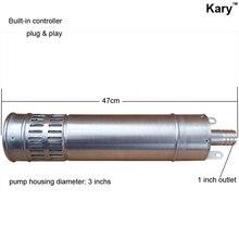 Kary 24 вольт постоянного тока солнечной цилиндра насоса, 20 м лифт солнечный водяной насос, нержавеющая сталь погружной солнечный насос для орошения