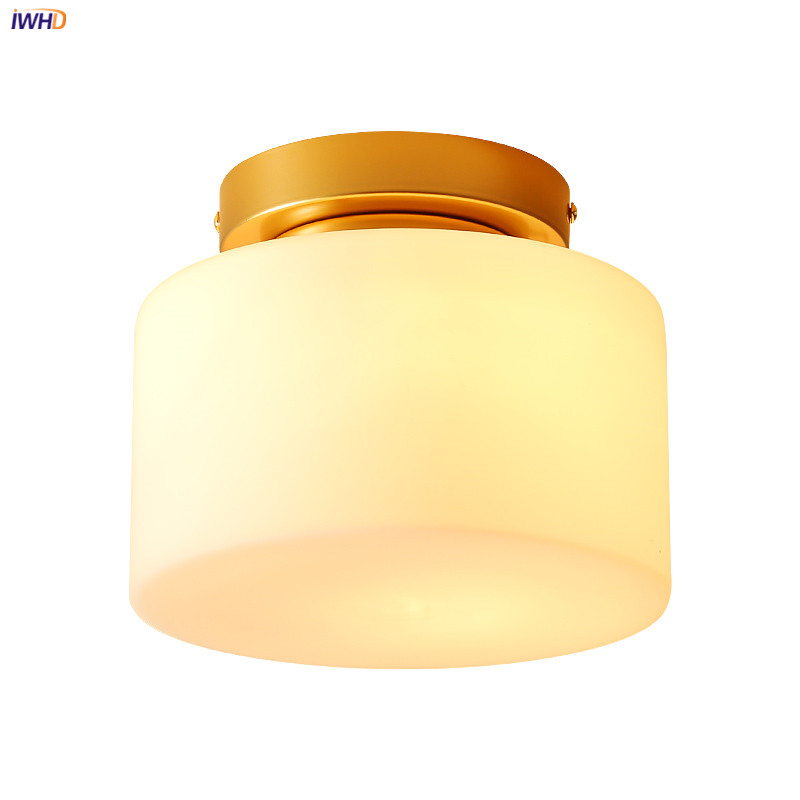 IWHD Round Glass LED Ceiling Light Fixtures Kitchen Hallway Balcony American Vintage Retro Ceiling Lamps Plafonnier LED Lamparas iwhd europe vintage glass led ceiling lights for kitchen hallway balcony copper ceiling lamp plafonnier led lamparas de techo