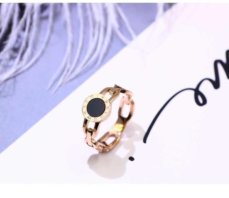 ใหม่แฟชั่นเครื่องประดับคริสตัลจากบัลแกเรียอเนกประสงค์ TITANIUM STEEL Rose Gold Roman ตัวเลขสีดำ Disc ผู้หญิงแหวน