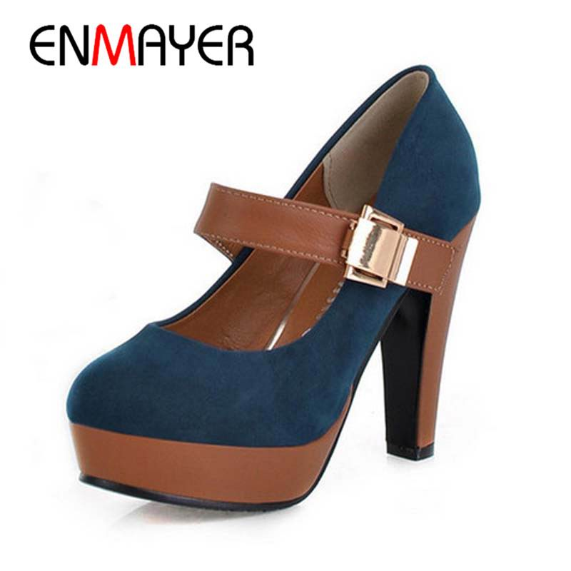ENMAYER Women Stiletto High Heels Shoes Platform Pumps Buckle Lady Quality Footwear Fashion Escarpin Heeled Pumps Shoes Woman new 2017 fashion women stiletto high heel shoes sexy lady platform spring fashion heeled pumps heels shoes pink plus big size