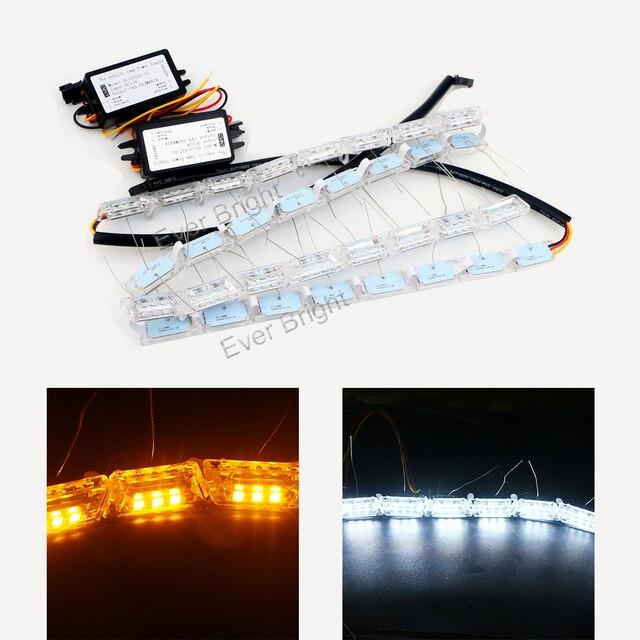 1 Компл. 8 S Кристалл Tear Лампы Белого/Янтарный Горки Streamer Вспышка Дневного Вождения Лампы Водонепроницаемые Гибкие DRL