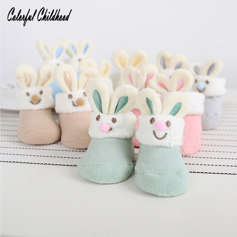 Cotton Baby Socks Christmas Socks For Newborn Gift Cute Bunny ear Lot Anti Slip With Rubber Soles For Boy Girl Infant Baby sock
