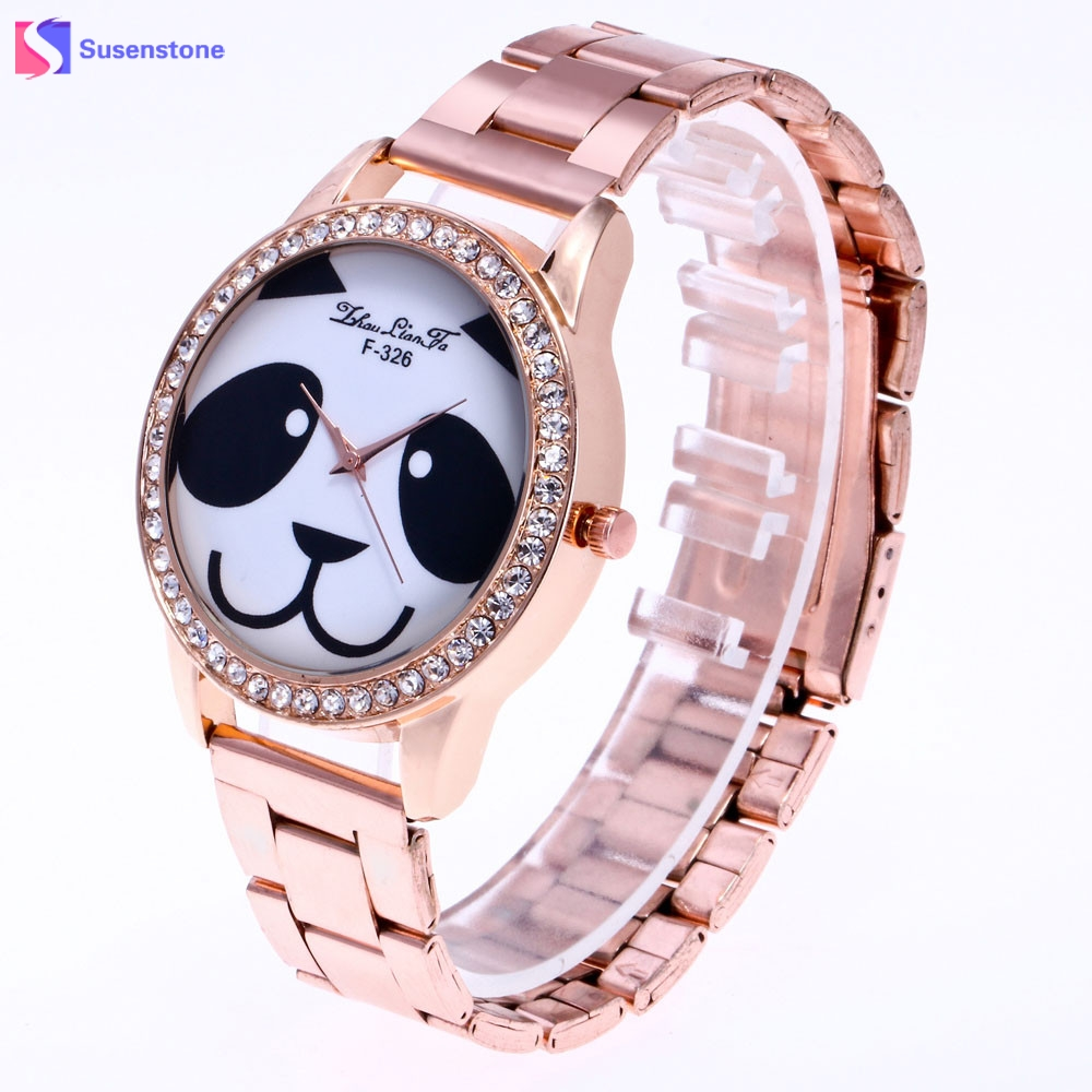 Fashion Man Women Panda Watch Stainless Steel Analog Quartz Wrist Watch Unisex Casual Dress Watches Reloj 2017 Relogio migeer fashion man stainless steel analog quartz wrist watch men sports watches reloj de hombre 2017 20 gift