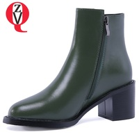 ZVQ 2018 newest hot sale genuine leather ankle boots zipper high square heel round toe black and dark green outside shoes women