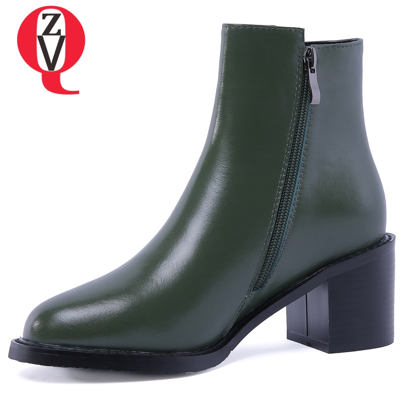 ZVQ 2018 newest hot sale genuine leather ankle boots zipper high square heel round toe black and dark green outside shoes women zvq 2018 winter hot sale new fashion square toe zipper high square heel genuine leather women ankle boots outside warm shoes