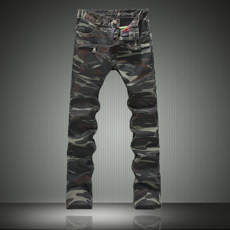 NEW Dropshipping Men Jeans Denim Biker Pants Famous Brand Camouflage Jeans Designer Military Skinny Jeans Army Casual Clothes