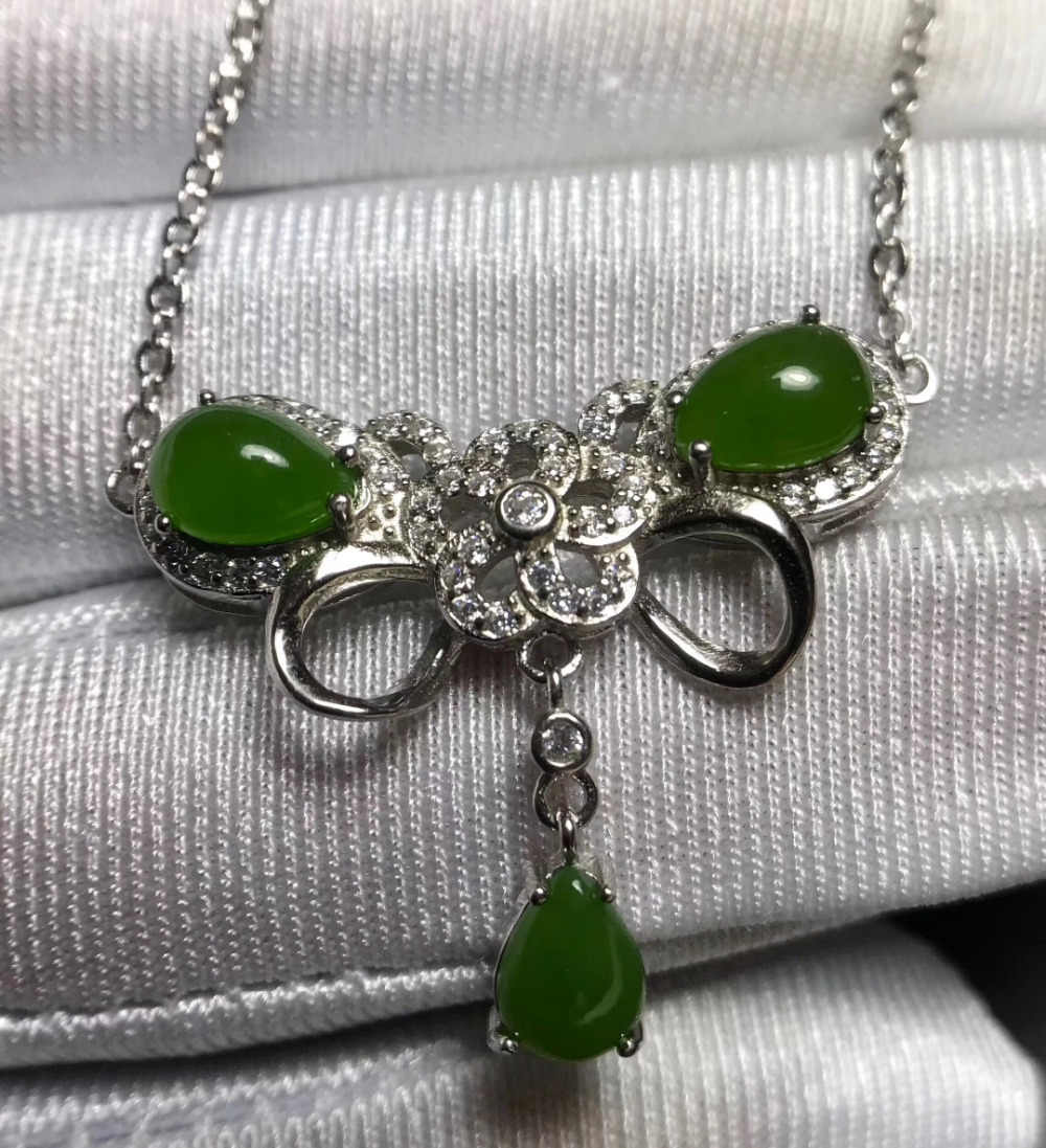 Natural jaspe verde Elegante Linda borboleta Colar de Pingente de Colar de pedras preciosas Naturais 925 sliver mulheres party Girl Jewelry