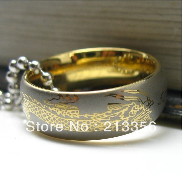 FREE SHIPPING USA HOT SELLING E&C TUNGSTEN JEWELRY NEWEST New GOLD WOMEN&MENS TUNSGTEN CARBIDE WEDDING BAND RING DRAGON LASERED