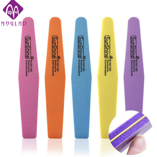 5pcs/lot mix color sunshine nail file sponge diamond nail buffer ...
