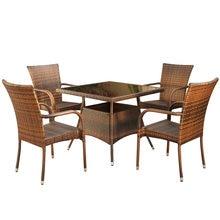 Стол и стул комбинация из пяти частей ротанга для отдыха открытый