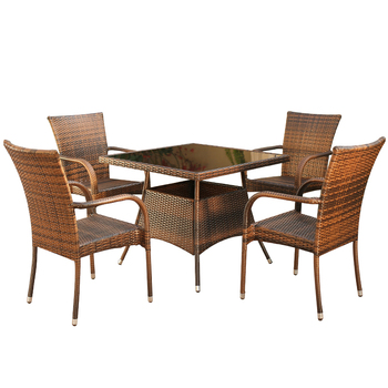 цены Table and chair five-piece combination rattan chair leisure outdoor balcony garden garden rattan table and chair combination